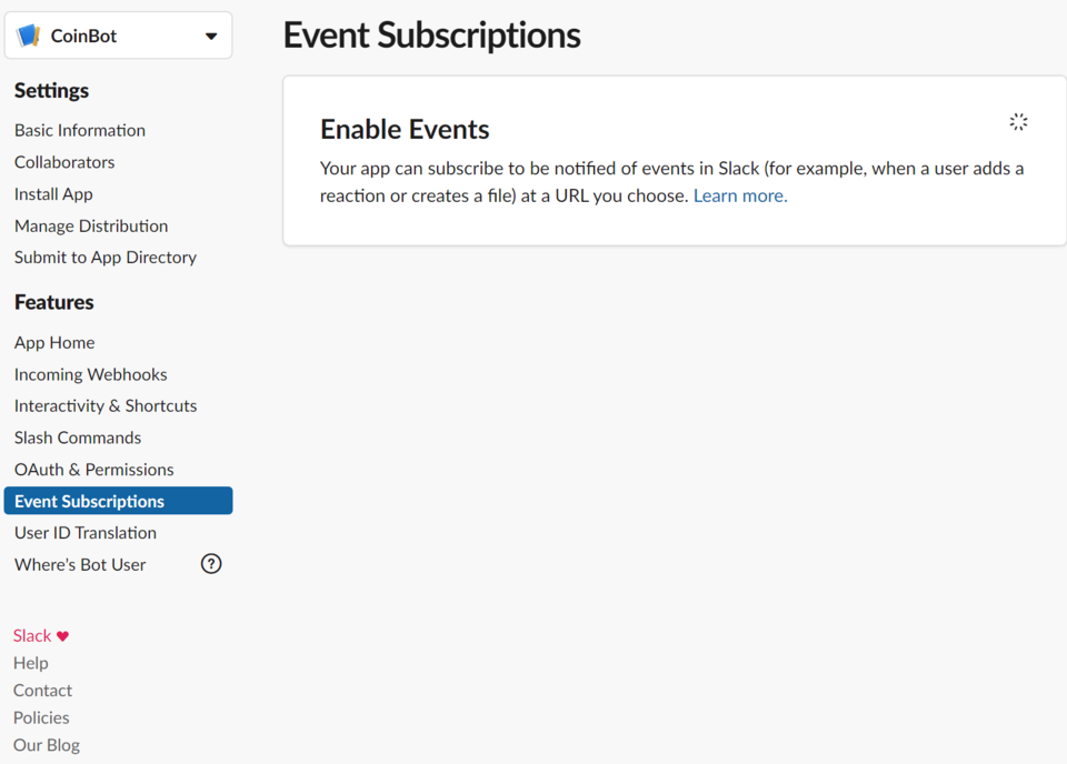 Enable Events Button